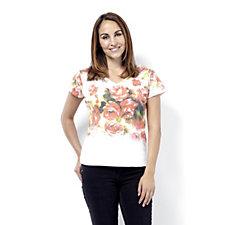 Butler & Wilson Double V Neck Roses Print Short Sleeve T-Shirt