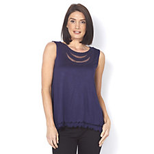 Layered Sleeveless Tunic with Sharkbite Hem by Nina Leonard