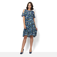 C. Wonder Printed Cold Shoulder Flutter Sleeve Dress