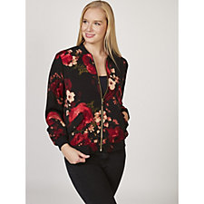 167625 - Printed Stretch Peachskin Bomber Jacket by Susan Graver