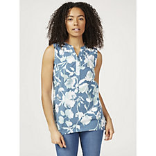 Denim & Co. Printed Jersey Sleeveless Split Neck Top with Hi-Lo Hem