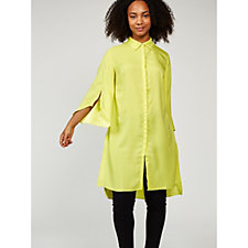 H by Halston Button Front Split Sleeve Tunic