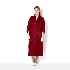 Carole Hochman Trimmed Medallion Zip Through Dressing Gown with Satin Trim