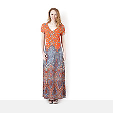 Tiana B Paisley Border Print Maxi Dress