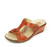 Earth Spirit Charlotte Leather Laser Cut Detail Wedge Sandal