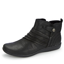 Earth Spirit Rhode Island Leather Ruched Effect Ankle Boot