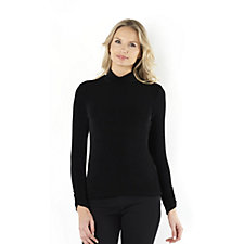 Kim & Co Slinky Mock Neck Top with Ruched Sleeve Detail
