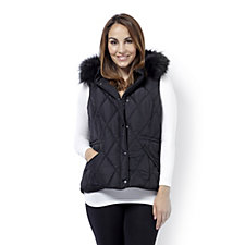 Centigrade Gilet with Faux Fur Trim Hood