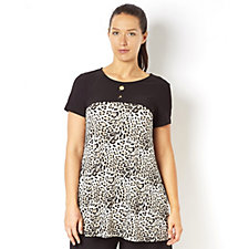 Printed Trapeze Top with Eyelet Detail by Nina Leonard