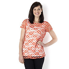 Outlet Annalee + Hope Polka Dot Print Lace Top
