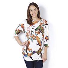 Nick Verreos Dolman Sleeve Parrot Print Asymmetric Hem Jersey Top