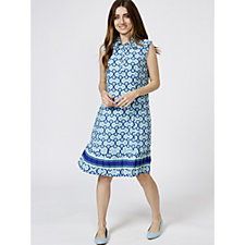 C. Wonder Geo Printed Pleated Hem Detail Dress