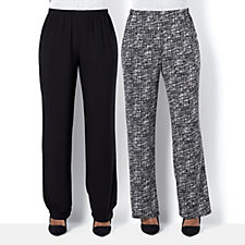 Antthony Designs Pack of 2 Print & Plain Pull-on Trousers Regular