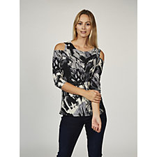 Printed Liquid Knit Cold Shoulder Scoop Neck Top by Susan Graver