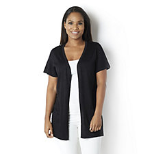 Lurex Knitted Edge to Edge Short Sleeve Cardigan by Michele Hope