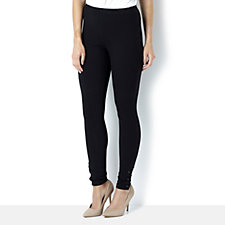 Women with Control Knit Leggings with Faux Leather Snap Detail