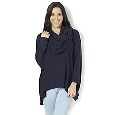 Join Clothes Melange Jersey Dolman Sleeve Top Rib Cowl Neck & Cuff Detail