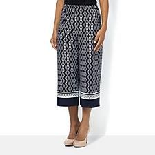 Printed Liquid Knit Wide Leg Capri Trousers by Susan Graver
