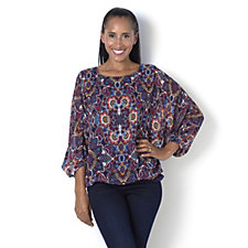 Coco Bianco Printed Dolman Sleeve Top