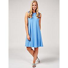 Denim & Co. Round Neck Sleeveless Swing Dress with Seam Detail