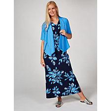 173927 - Denim & Co. Cotton Jersey Maxi Dress & Waterfall Cardigan Petite