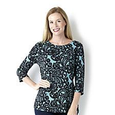 122128 - Bob Mackie 3/4 Sleeve Lace Print Knit Top