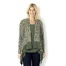Attitudes by Renee Printed Cascade Jacket & Sleeveless Top