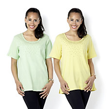 Quacker Factory Set of 2 Short Sleeve Tops with Stud Detail