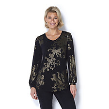 Kim & Co Oriental Foil Brazil Knit Tunic with Blouson Sleeves