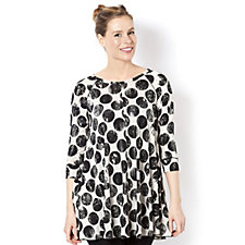 159128 - Yong Kim 3/4 Sleeve Jersey Print Tunic with Overlock Seam Detail