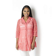 159628 - Velvet Burnout Shirt with 3/4 Sleeves by Michele Hope