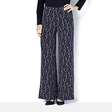 159828 - Printed Palazzo Trousers with Elasticated Back Waist by Nina Leonard