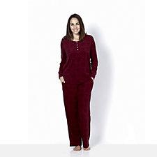 Carole Hochman Rib Trim Henley Top PJ Trouser Set