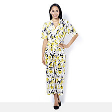 Kim & Co Brazil Knit Printed Short Sleeve Gaucho Jumpsuit