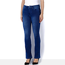 Nick Verreos Stretch Denim Boot Leg Jean with Mock Fly Front