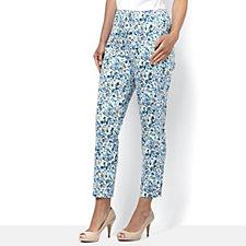C. Wonder Slim Leg Ankle Length Petite Printed Trousers