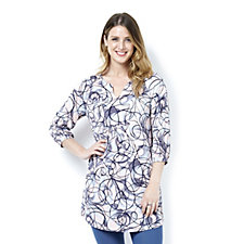Kim & Co Printed Venechia Blouson Sleeve Tunic Dress