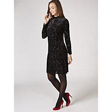 Ronni Nicole Long Sleeve Burnout Velvet High Neck Dress
