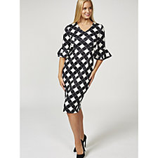 Ruth Langsford Chequered Print Fluted Sleeve Zip Back Dress