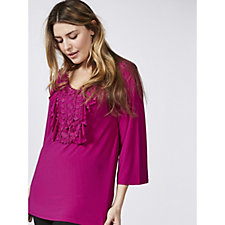 Antthony Designs 3/4 Flared Sleeve Ruffle Front Top