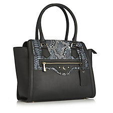 171128 - Ashwood Snake Effect Leather Structured Shopper Bag