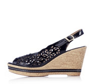 Adesso Lucia Leather Lazer Cut Sling Back Wedge Sandal