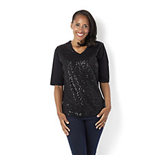 Quacker Factory Sequin Front Elbow Length Sleeve V-Neck T-Shirt