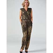 Kim & Co Oriental Foil Brazil Knit Cross Over Pocket Jumpsuit