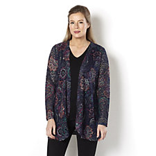 157629 - Floral Fan Printed Lace Edge to Edge Cardigan by Michele Hope