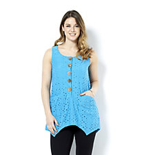 Sleeveless Textured Knit Button Front Tunic by Nina Leonard