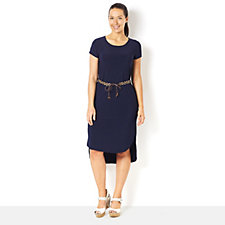 Hi-Lo Hem Midi Dress with Belt by Nina Leonard