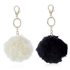 Danielle Nicole Box of Two Faux Fur Pom-Pom Handbag Charm