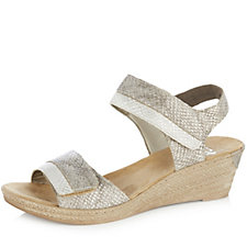 Rieker Metallic Wedge Sandal with Adjustable Straps