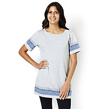 Denim & Co. Border Print Boat Neck Short Sleeve Tunic